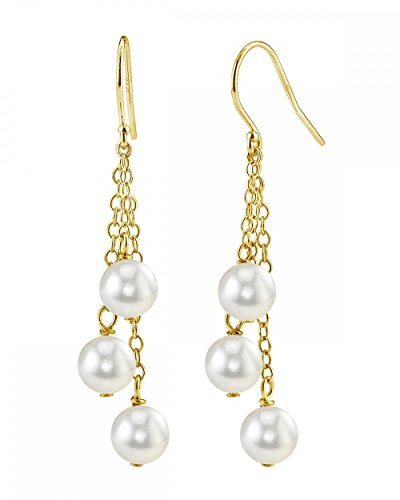 THE PEARL SOURCE 14K Gold 6-6.5mm AAA Quality Round Genuine White Akoya Cultured Pearl Cluster Earrings for Women