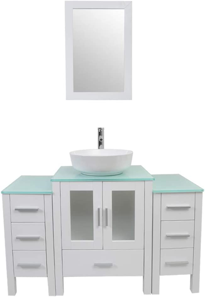 Tonyrena 48 inch Bathroom Vanity in White with Mirror and Tempered Glass Countertop,Include White Round Vessel Sink Set