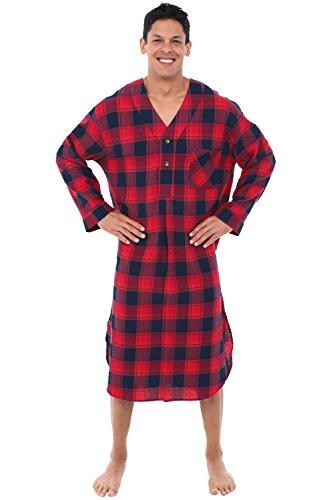 Alexander Del Rossa Mens Flannel Nightshirt, Long Lightweight Cotton Kaftan, Medium Red and Navy Plaid (A0548Q34MD) by Alexander Del Rossa