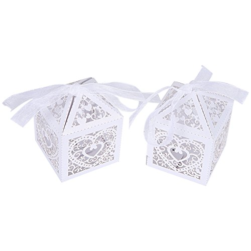 Heart Window Favor Boxes (Home Kitty 50 PCS Love Heart Laser Cut Candy Gift Boxes With Ribbon Bridal Shower Wedding Party Favor -White Color)