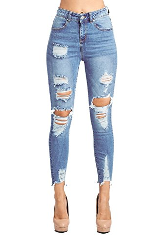 ICONICC Women's Butt Lifting High Rise Destroyed Skinny Jeans Stretch Denim (JP1078H_LT_5)