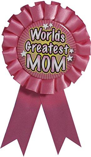 Forum Novelties 72153 Award Ribbon-World Greatest Mom, Pink, One Size, Pack of 6