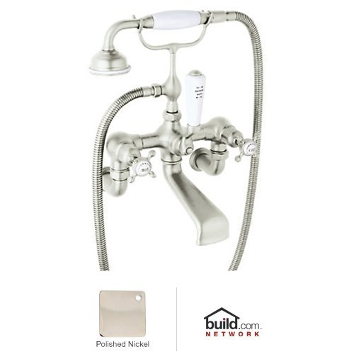 Rohl U.3511X/1 Perrin and Rowe Wall Mount Tub Filler Faucet with Hand Shower and, Polished (Perrin And Rowe Nickel Handles)
