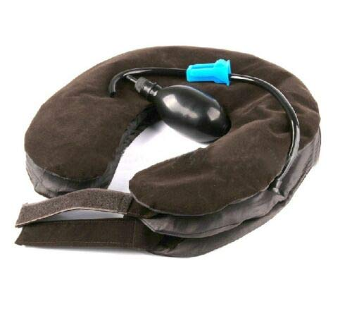 Generic Health Care Neck Massage Relaxation Air Cervical Soft Neck Brace Device Headache Back Shoulder Pain Cervical Traction Device brown