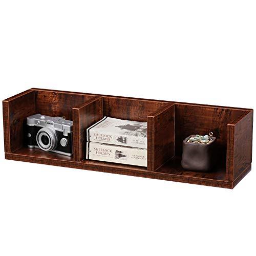 Walnut Storage Cube - SUPERJARE Wall Mounted Corner Shelf, Floating Desk Hutch, Hanging Square Cabinet, Display Bookcase, Freestanding Modular Storage Cube, 3 Tier - Walnut Brown
