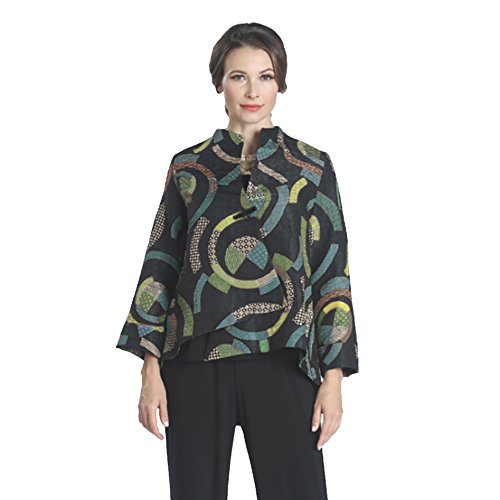 IC Collection Asymetric High-Low Jacket In Teal/Multi (Medium)