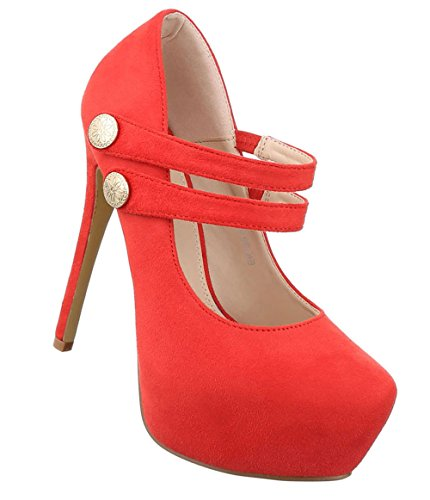 Damen Pumps Schuhe High Heels Stöckelschuhe Stiletto Plateau Schwarz Beige Blau Rot 36 37 38 39 40 Rot