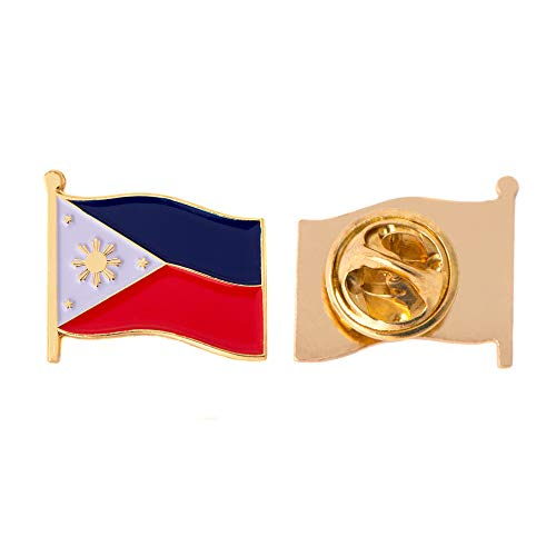Philippines Country Flag Lapel Pin Enamel Made of Metal Souvenir Hat Men Women Patriotic (Waving Flag Lapel Pin)