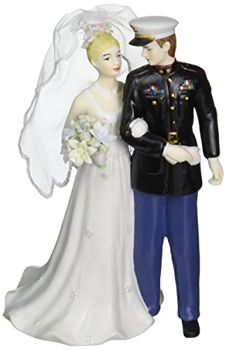 Appletree Design The Perfect Wedding Marine Groom and Bride Figurine, 7-1/4-Inch Tall
