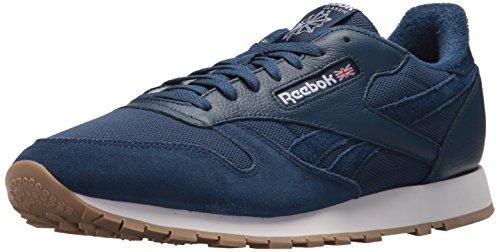 Sneaker Estl Reebok Uomo Cl In Pelle Lavato Blu / Bianco