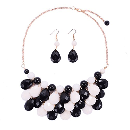 Women's Choker Acrylic Candy Color Multilayer Pendant Statement Necklace Earrings Set
