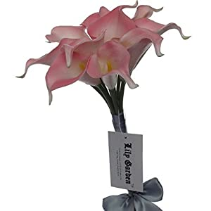 """Lily Garden Mini 15"""" Artificial Calla Lily 10 Stem Flower Bouquets (Pink with Ribbon) 48"""