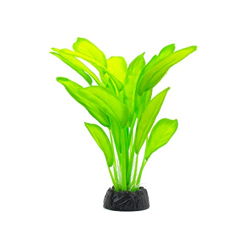 - ZAZALUM Artificial Aquarium Silk Plants, Fish Tank Green Decoration Aquatic Water Grass Ornament with Ceramic Base, Peak-green-8in