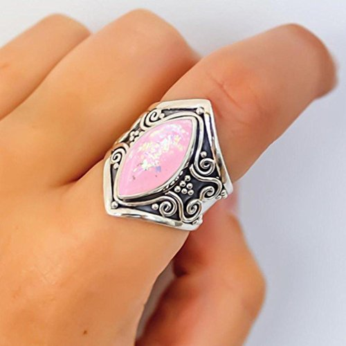 2018 Rings Daoroka Silver Boho Natural Gemstone Marquise Pink Opal Personalized Ring for Mother's Day Valentine's Gifts (7, Pink)