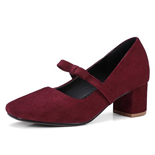 SJJH Women Court Shoes with Faux Nubuck Materail and Chunky Heel/Party Shoes with Plus Burgundy sstpvV7