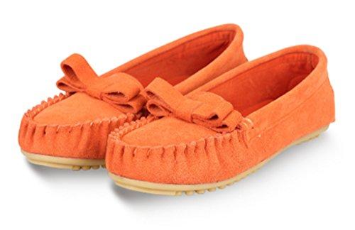 Crc Moda Mujer Cómoda Cómoda Conducción De Cuero De Gamuza Sendero Para Caminar Correr Mocasines Para Barcos Planos Multi Color Naranja
