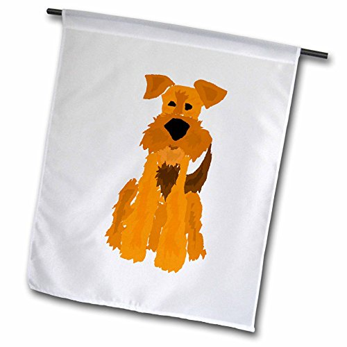 3dRose Funny Cute Airedale Terrier Puppy Dog Original Art - Garden Flag, 12 by 18