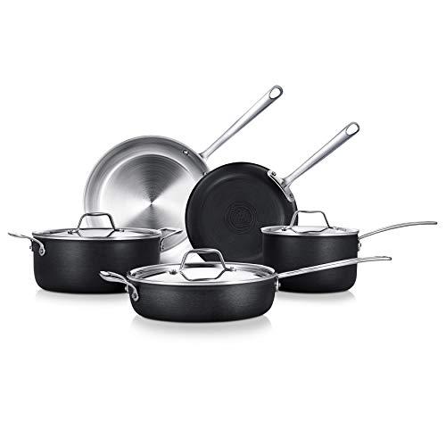 NutriChef Kit 8-Piece 4-Ply Kitchenware Pots & Pans Set Stylish Kitchen Cookware w/Cast Stainless Steel Handle