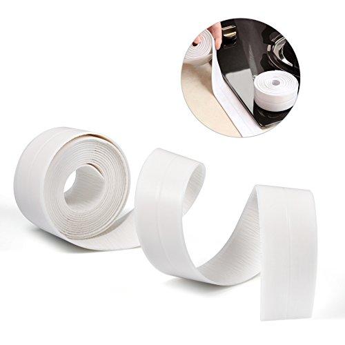 PE Self Adhesive Sealing Tape Waterproof Wall Caulk Strip Corner Caulk Tape White Wall Trimmer For Kitchen Bathroom Sink Decorative Trim 3.35M (38mm/1.50inch) by Yosoo