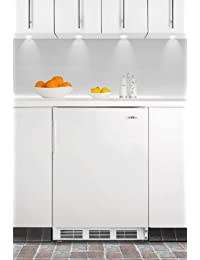 Summit FF67BIADA 24 wide Compact Refrigerator 5.5 cu. ft. capacity Built-in or Freestanding ADA compliant 32 height White Exterior User-Reversible Door Crisper Drawer and Interior