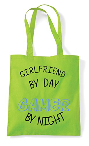 Night Gamer Gaming By Bag Girlfriend Statement Personalised Day Lime Shopper Tote 6tqwRE4