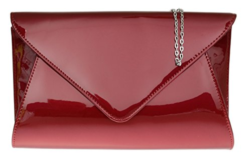 Girly HandBags Designer Patent Faux Leather Plain Envelope Evening Clutch Bag Ladies (Burgundy)