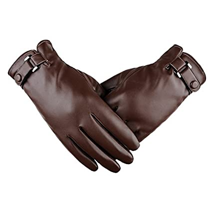 Horuhue Touchscreen Leather Gloves for Men Winter Warm Black Soft Gloves Cashmere Lining Black