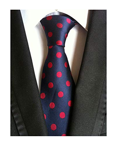 Men's Boys Navy Blue Silk Tie Clip on Maroon Red Polka Dots Formal Self -