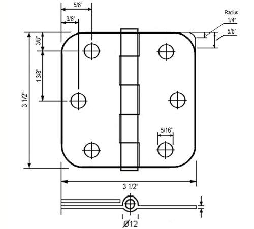 100 PCS Oil Rubbed Bronze 3.5'' x 3.5'' 1/4 Radius Interior Door Hinges by eBuilderDirect