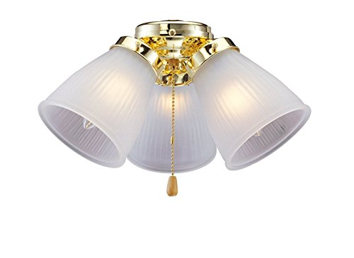 - BOSTON HARBOR CF-3FLK-PB 1382266 Ceiling Fan Light Kit, 190 W, Candelabra, 3, 60 W Lamp, Polished, 6-3/4 in H, Brass
