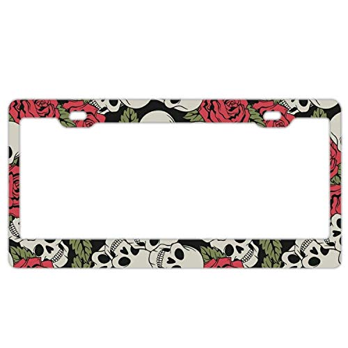 (Hopes's Auto License Plate Frame Anodized Aluminum 12 x 6 inch, Metal Label, License Plate Frame - Red Peony and Skull)