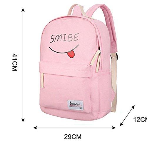 YiLianDa Canvas Rucksack Laptop Schule Rucksack Schule Rucksack + Messenger Bag + Handtasche Grau YwHyH35Wa0