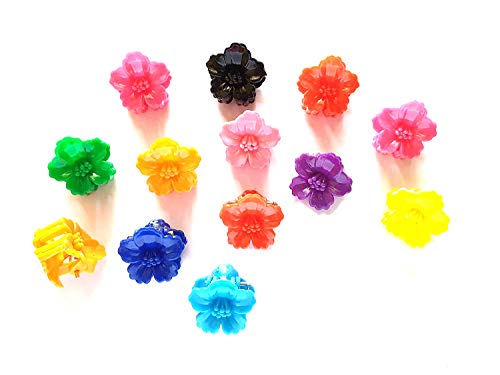 20 pcs Mix Colors cute Flower Hair Snap Claw Clips For Hair Crafts Size 20 mm (Hibiscus)