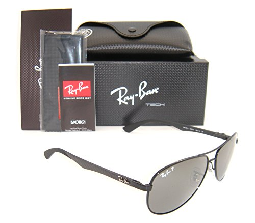 New Ray Ban Carbon Fibre RB8313 002/K7 Shiny Black / Grey Mirror Black Polar 58mm - Sunglasses Ban Fiber Aviator Ray Carbon