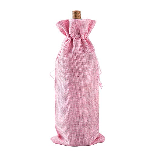 10pcs Jute Wine Bags Linen Gift Bags Reusable Bottle Wrap Holder Hessian Pouches Perfect for Wedding Christmas Birthday Party Reception Favor with Drawstring (pink)