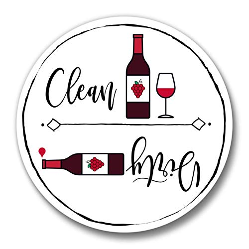 Dishwasher Magnet Clean Dirty Sign 2 1//2 inch Wine Theme Flip Indicator Black White Red Wine Bottle and Glass