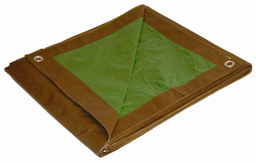 20x20 Multi-Purpose Brown/Green Medium Duty DRY TOP Poly Tarp (20'x20')