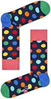 Happy Socks Men's 1 Pack Unisex Combed Cotton Crew-Bright Big Dot