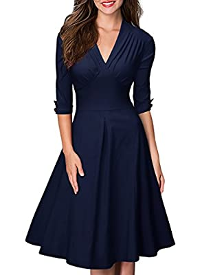 Miusol Women's Retro Deep-V Neck Half Sleeve Vintage Casual Swing Dress