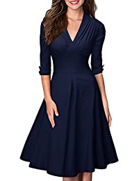 Women's Retro V Neck Vintage Style Cocktail Party Swing Dress