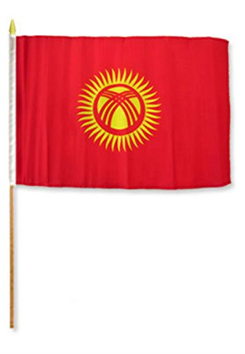 ALBATROS 12 inch x 18 inch Kyrgyzstan Stick Flag with Wood Staff for Home and Parades, Official Party, All Weather Indoors Outdoors