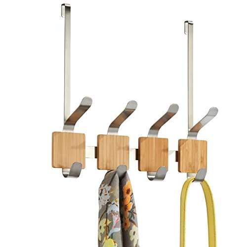 - mDesign Over the Door 4-Hook Rack for Coats, Hats, Robes, Towels - Bamboo/Brushed Stainless Steel