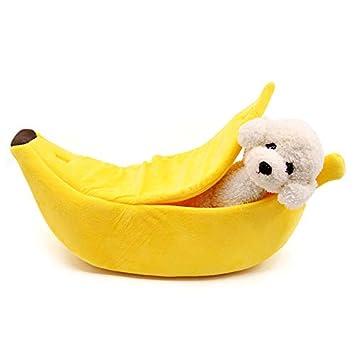 Marysa Creative Banana Nido cálido Nido Cerrado la litera del Gato Mascota Pet Perro Gato Perrera Banana Forma Cama Nido: Amazon.es: Productos para mascotas
