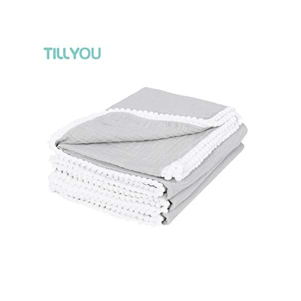 "TILLYOU 100% Soft Cotton Muslin Swaddle Blanket with Pom Pom, 44""x44"" Large – Fits Toddler Bed/Baby Crib/Newborn Stroller, Breathable Thermal Security Blanket for Receiving, Swaddling, Sleeping, Gray"