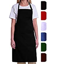 Bib Aprons-MHF Aprons-1 Piece Pack-new Spun Poly-commercial Restaurant Kitchen-(Black)