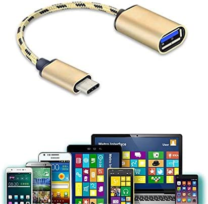 Cables New Type-C Male to USB 3.1 Female OTG Gold Braided Adpater Cable Converter QJY99 Cable Length: Other, Color: Gold