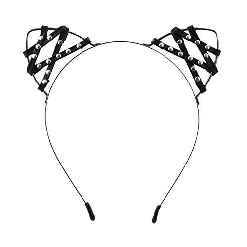 Merroyal Black Leather Cat Ears Headband Halloween Fancy Dress Cat Woman Hairband Cosplay (Black) -