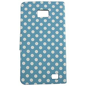 Camiter Leather Pu Quality Polka Dot Wake Stand Wallet Hard Case Cover for Samsung Galaxy SII S2 I9100 Light Blue
