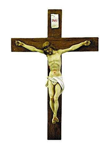A hand-painted alabaster crucifix, 15''. Made in Italy. by GSV001