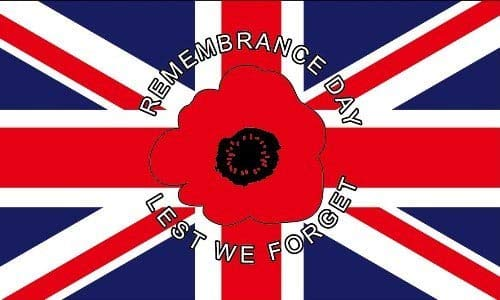 Legs Galore Poppy Remembrance Day 5ft x 3ft Flag on Union Jack Background